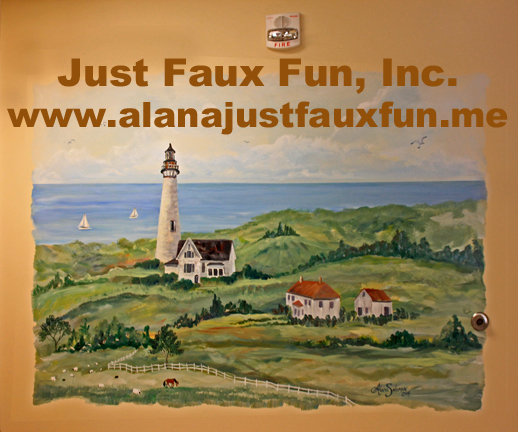 "Faux Painted from Wilmington, to Myrtle Beach, Calabash, Columbia, Greenville, Charleston, Raleigh, Durham, Chapel Hill, Cary, Garner, Fayetteville, Lumberton, Hendersonville, Burlington, Eden, Reidsville, Wake Forest, Greensboro, Winston-Salem, High Point, Thomasville, Lexington, Charlotte, Ashboro, Ashville, Boone, all over the East Coast to the Mountains and beyond, Artist Alana Solomon enthusiastically awaits your inquiries; Her painting talents run the gamut: painted furniture, gold & silver leafing, wall finishes, color washing, french brushing, ragging, painted stripes, diamonds, leopard pattern, zebra, painted faux fur, faux fossil stone, marbling, woodgraining, exotic painted snakeskin, distressed finishes, tortoise shell, leather, malachite, alabaster, faux slate, verdigris copper, faux hammered copper, travertine, faux brick, heart pine, rosewood, wormy cypress, mahogany, burl wood, curly maple, portraits, pet portraits, home portraits, camouflaged necessities, painted outlet covers and fuseboxes, repairing missing or out of print wallpapers and textured wallpapers, furniture restoration, veneer restoration, gold carved frame repairs, gilded repairs, fireplace mantle frieze restoration, antiquing and aging, matching missing or destroyed ornamental elements, fabrication of matching mouldings, disguising architectural eyesores, floors, walls, ceilings, offices, homes, yatchs, motorcoaches, you name it.  Alana's paintbrushes travel far and wide. No project too small or too large. She will oversee your project from beginning to end. Full of enthusiastic energy, Alana will paint until you exclaim ""GORGEOUS !""  Call Alana 910 232 5427  Text Alana 910 477 7910  Email Alana http://www.alanajustfauxfun@gmail.com"